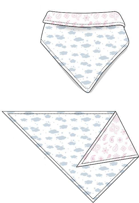 Reversible Organic Cotton Dog Bandana - Blue Clouds with Pink Bandana