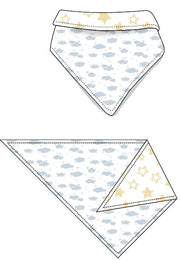 Reversible Organic Cotton Dog Bandana - Blue Clouds with Sunlight Star