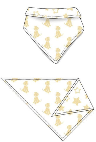 Reversible Organic Cotton Dog Bandana - Sunshine Dogs with Sunshine Stars