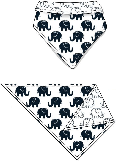 Reversible Organic Cotton Dog Bandana - Navy Ellies with Navy Outline Elllies