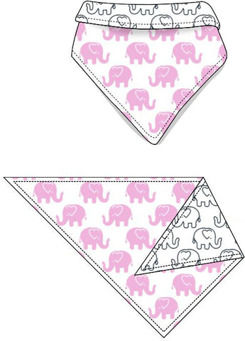 Reversible Organic Cotton Dog Bandana - Pink Ellies with Navy Outline Elllies