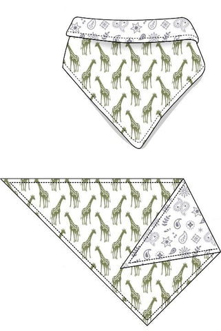 Reversible Organic Cotton Dog Bandana - Iguana Giraffes with Silver Grey Bandana