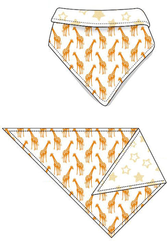Reversible Organic Cotton Dog Bandana - Dark Cheddar Giraffes with Sunshine Stars