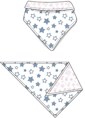 Reversible Organic Cotton Dog Bandana - Denim Blue Stars with Pink Bandana