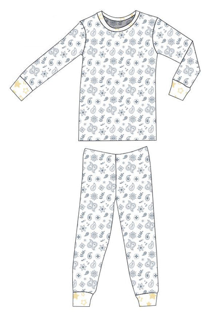 Organic Cotton Pajamas - Silver Grey Bandana and Sunlight Star