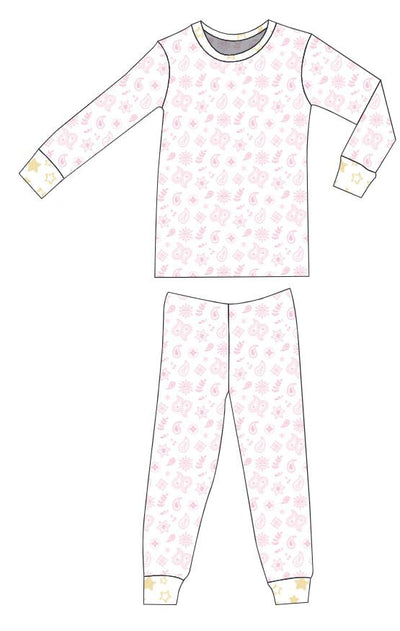Organic Cotton Pajamas - Pink Bandana and Sunlight Star