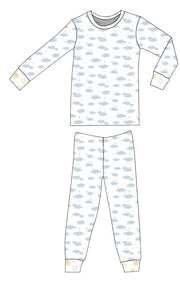 Organic Cotton Pajamas - Blue Clouds with Sunlight Star
