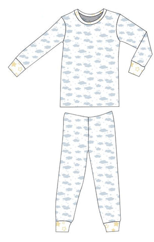 Organic Cotton Pajamas - Blue Clouds with Sunshine Star