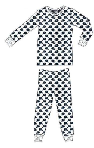 Organic Cotton Pajamas - Navy Ellies with Navy Outline Ellies