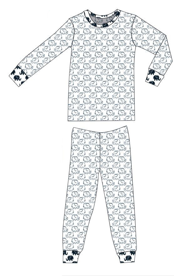 Organic Cotton Pajamas - Outline Ellies with Navy Ellies
