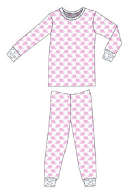 Organic Cotton Pajamas - Pink Ellies with Navy Outline Ellies