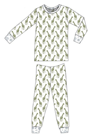 Organic Cotton Pajamas - Iguana Giraffes with Quick Silver Bandana