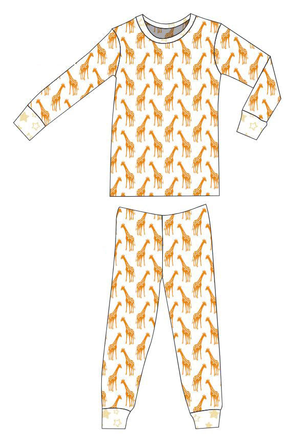 Organic Cotton Pajamas - Dark Cheddar Giraffes and Sunlight Stars
