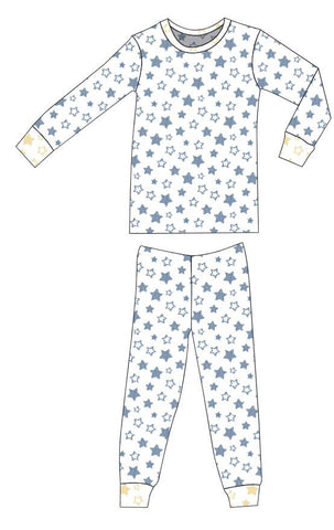 Organic Cotton Pajamas - Denim Blue Stars with Sunshine Stars