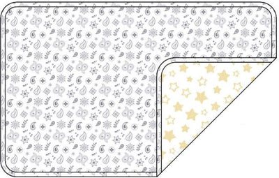 Reversible Organic Cotton Dog Crate Pad - Silver Grey Bandana with Sunlight Star