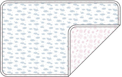 Reversible Organic Cotton Dog Crate Pad - Blue Clouds with Pink Bandana