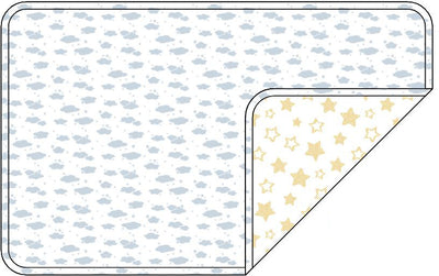 Reversible Organic Cotton Dog Crate Pad - Blue Clouds with Sunlight Star