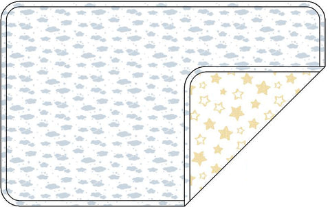 Reversible Organic Cotton Dog Pup Crate Blanket - Blue Clouds with Sunshine Star