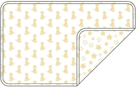Reversible Organic Cotton Dog Pup Crate Blanket - Sunshine Dogs with Sunshine Stars
