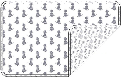Reversible Organic Cotton Dog Pup Crate Blanket - Silver Grey Dogs with Silver Grey Bandana