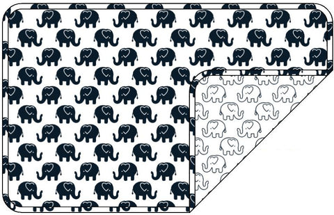 Reversible Organic Cotton Dog Pup Crate Blanket - Navy Ellies with Navy Outline Elllies
