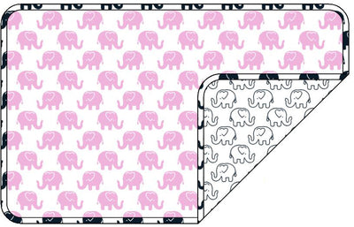 Reversible Organic Cotton Dog Crate Pad - Pink Ellies with Navy Outline Elllies