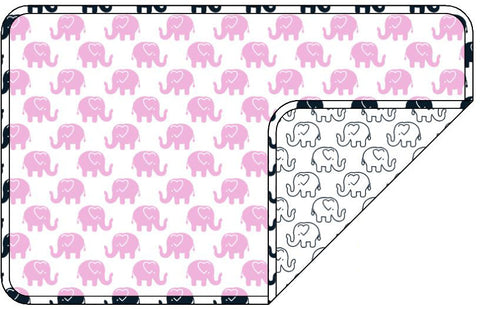 Reversible Organic Cotton Dog Pup Crate Blanket - Pink Ellies with Navy Outline Elllies