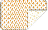 Reversible Organic Cotton Dog Pup Crate Blanket - Dark Cheddar Giraffes with Sunshine Stars