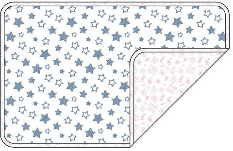 Reversible Organic Cotton Dog Pup Crate Blanket - Denim Blue Stars with Pink Bandana
