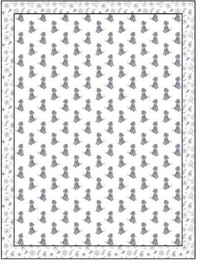 Organic Cotton Single Blanket with Binding - Silver Grey Dogs with Silver Grey Bandana