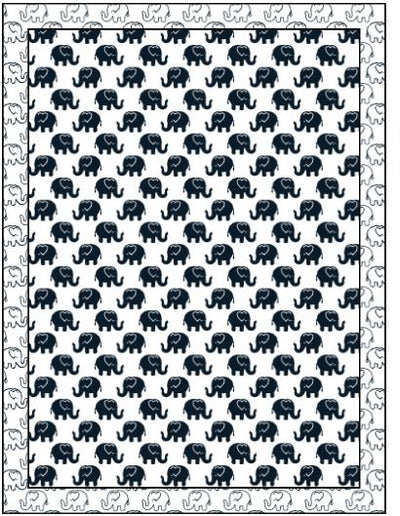Organic Cotton Single Blanket with Binding - Navy Ellies with Navy Outline Ellies