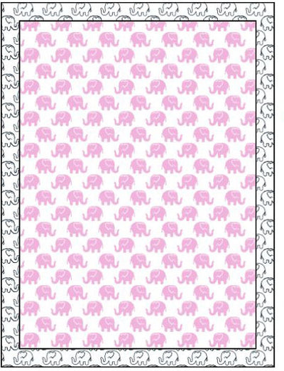 Organic Cotton Single Blanket with Binding - Pink Ellies with Navy Outline Ellies