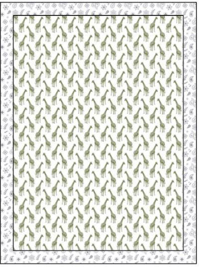 Organic Cotton Single Blanket with Binding - Iguana Giraffes with Silver Grey Bandana