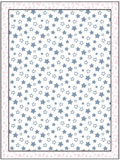 Organic Cotton Single Blanket with Binding - Denim Blue Stars with Pink Bandana