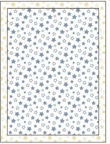 Organic Cotton Single Blanket with Binding - Denim Blue Stars with Sunshine Stars