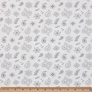 Organic Cotton Single Blanket with Binding - Silver Grey Bandana with Sunlight Star