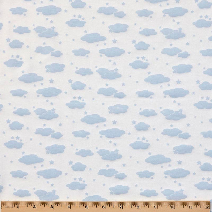 Reversible Organic Cotton Round Blanket - Blue Clouds with Sunlight Star