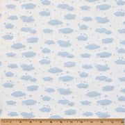 Organic Cotton Single Blanket with Binding - Blue Clouds with Sunlight Star