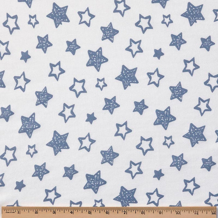 Organic Cotton Pajamas - Denim Blue Stars with Sunlight Stars