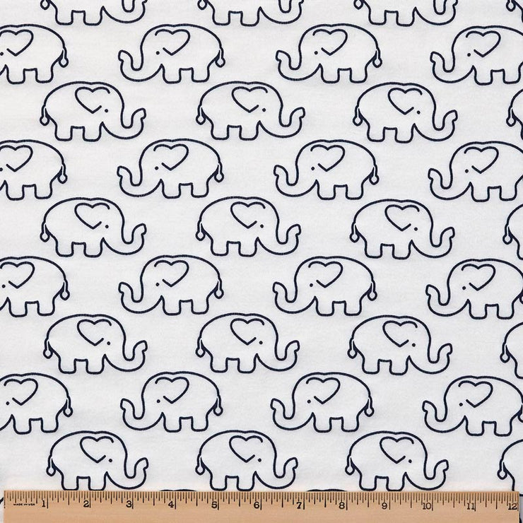 Organic Cotton Single Blanket with Binding - Outline Ellies with Navy Ellies