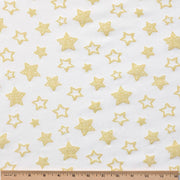 Organic Cotton Single Blanket with Binding - Denim Blue Stars with Sunlight Stars