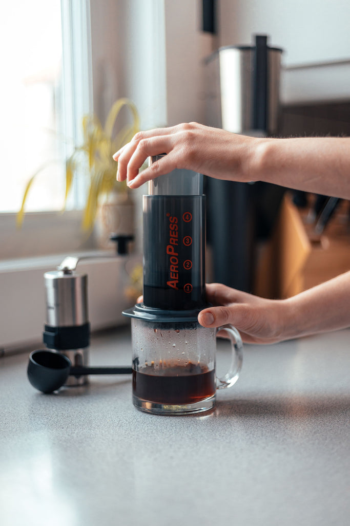 AeroPress being pressed in a kitchen
