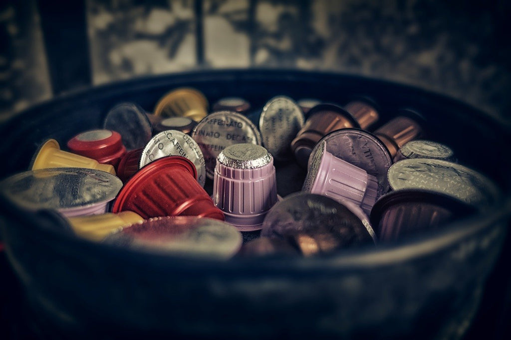 container filled with coffee capsules