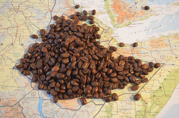 coffee beans on a map of Africa