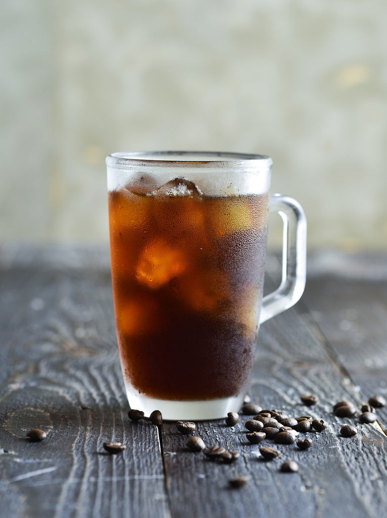 Iced Coffee with coffee beans
