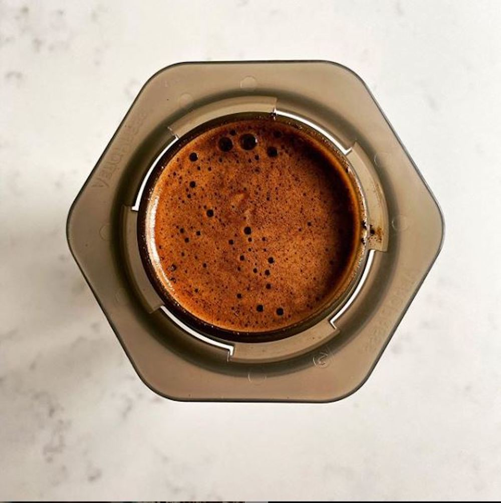 AeroPress with a coffee in it