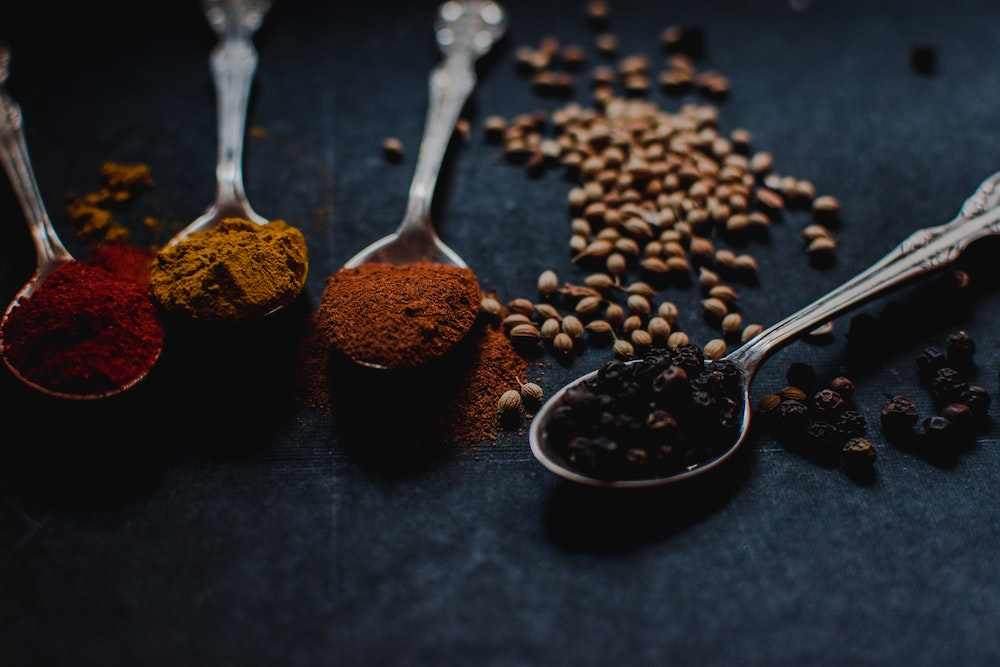A selection of spices on spoons