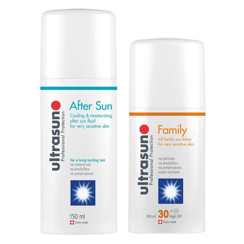 """Ultrasun Family SPF 30"" - ""Super Sensitive"" (100 ml) ir ""Ultrasun Aftersun"""