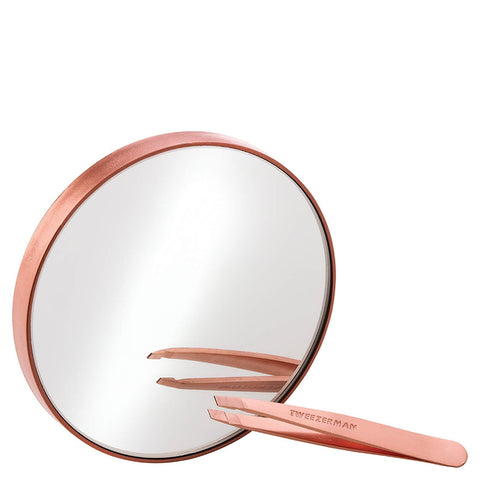 Tweezerman Rose Gold Mini Slant Tweezer eta 10x Mirror - Beautyshop.ie
