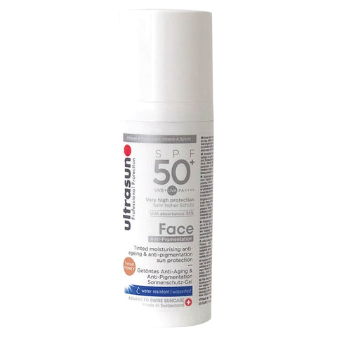 """Ultrasun Tinted Anti-Pigmentation SPF50 +"" veido losjonas 50ml"